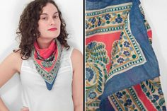 Saint (Laurent) or Sinner?  Paisley YSL Scarf // 1970s Cotton 26 Inches // Red Blue Golden Brown by JeezumCrowVintage on Etsy