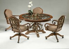 5 Piece Dinette set with Caster Chairs, Cherry Finish - Pastel Collection #9358.  From Furniture From Home.  the 5-pc set, $3499.99.  Chairs are $599.99 ea.