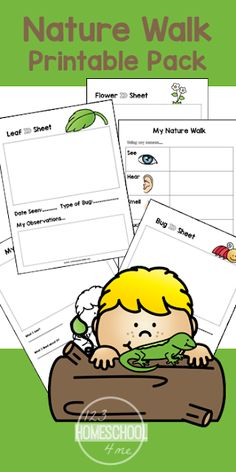 FREE Nature Walk Worksheets for Kids - these free printable pages are great for summer science with kids from toddler, preschool, kindergarten, first grade, 2nd grade, and 3rd grade kids.