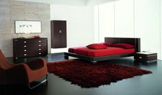 Small Boys Bedroom Ideas with red Blanket and Rug complete Black Wooden Master Bed also Cabinet feat Large Glasses Windows plus Black Ceramic Tile Flooring Design