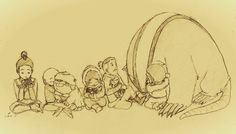 Zuko with a turtleduck, aang with appa, katara with an otterpenguin, socka with a mooselion cub, and toph with a badgermole