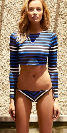 Vitamin A Swimwear Cannes Stella Stripe Rash Guard Cropped Shirt
