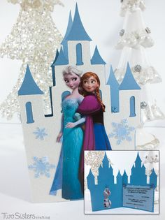 We made these adorable DIY Disney Frozen Invitations with a Cricut Cutting Machine, scrapbooking paper and print-outs of Disney Frozen characters.  Learn how we added Ice Queen worthy sparkle to these Frozen Birthday Party invitations.  And for more great Frozen Party Ideas follow us at http://www.pinterest.com/2SistersCraft/