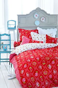 Red Floral Patterns Decadent Grey Headboard And A Dash Of Blue I Wish