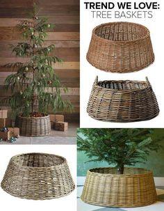 Looking to refresh your holiday decor? Forgo the standard skirt and try a tree basket. Looking to refresh your holiday decor? Forgo the standard skirt and try a tree basket. Christmas Tree In Basket, Noel Christmas, Xmas Tree, Christmas Tree Base Cover, Christmas 2019, Christmas Tree Skirts, Christmas Tree Stand Cover, Christmas Lights, Christmas Topiary