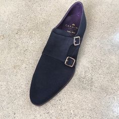 Carmina Shoemaker . Our new plain double monk style 80281 for a group of MTO on Inca last and in navy suede. #Mallorca #Island #gooddearweltedshoes #menshoes