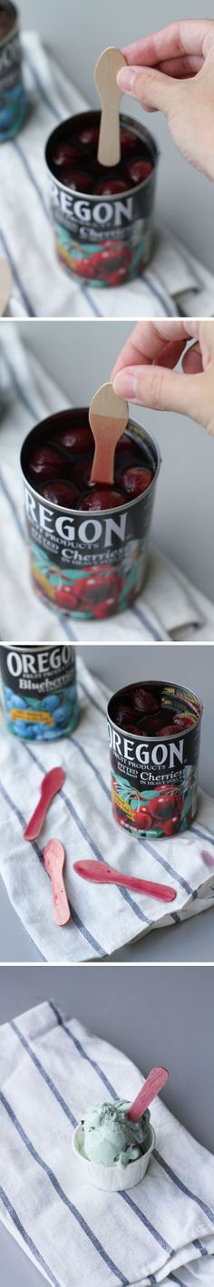 how to dip dye wooden utensils with canned fruit