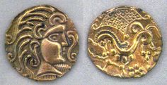 1st century BC gold coins from the Parisii, a Celtic Iron Age people that lived on the banks of the river Seine in Gaul. Profile of Apollo / winged horse.