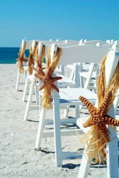 Beach wedding decor - starfish, table, chair