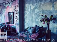 """The murals by @dovedrury at the Prince Street Showroom, with a fainting lounge covered in our """"Collage"""" piece tapestry fabric. #martynthompsonstudio #tapestry #martynthompson photo"""