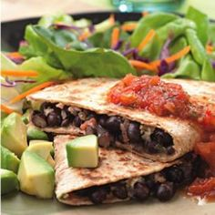 Healthy vegetarian recipes that use 5 ingredients or less. Try our Black Bean Quesadillas for a zesty Mexican vegetarian entree or our Green Pizza for a healthier dinner option than takeout. Quick Vegetarian Meals, Healthy Recipes, Mexican Food Recipes, Dinner Recipes, Cooking Recipes, Mexican Dishes, Dinner Ideas, Cheap Recipes, Vegetarian Cookbook