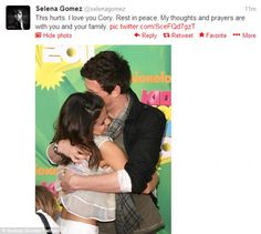 Cory Monteith dead: Selena Gomez posts picture of herself hugging Glee star