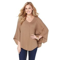 Shop Melissa McCarthy Seven7 Sweater Poncho in Khaki, read customer reviews and more at HSN.com...