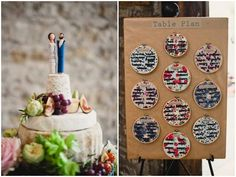 DIY fabric hoop table plan + DIY cake toppers on a cheese cake (love the details at this rustic barn wedding!) photo by Joseph Yarrow