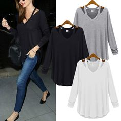 Cheap blouse shirt, Buy Quality blouse collar directly from China z1 Suppliers:  Hot New 2015 Womens Ladies Casual V Neck Off Shoulder blusas Cotton Long Sleeve Tops Tee Shirts Fashion Blouse chemise
