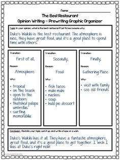 Opinion Writing - This engaging writing unit will guide students through writing a five paragraph essay. Students will state their opinion about the best restaurant and support that opinion with reasons, details, and examples. Common Core Writing 4th, 5th, 6th #opinionwriting #commoncorewriting