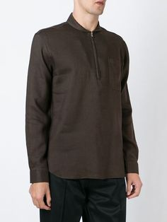 shawl zip neck shirt