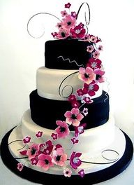 Black/White/Pink flowers wedding cake.