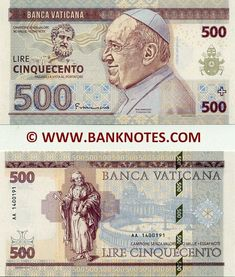 Vatican Currency Banknote -  #Banknote #currency #Vatican Old Coins, Rare Coins, Money Template, Money For Nothing, Money Notes, Rare Pictures, Photos, Papa Francisco, Monopoly