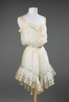 Combinations ca. 1890-1900 via The Costume Institute of The Metropolitan Museum of Art Combinations were a single garment that brought a chemise and pantalets into one.