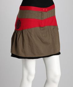 Take a look at this Khaki & Red Skirt by Coline USA on #zulily today!  Love the graphic, femm look.