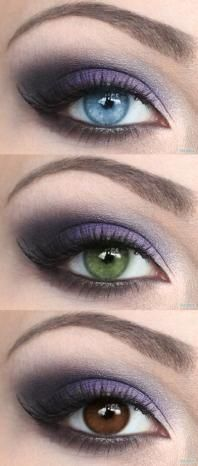 "Purple Eyeshadow Tutorial - great on Blue, Green or Brown Eyes - use MAC pigment ""Vanilla"" on brow bone, Mac ""White Frost"" eyeshadow on inner corner of eyes, MAC ""Plumage"" eyeshadow on crease, and a fave purple eyeshadow ie MAC ""Purple Haze"", NARS ""Daphne"" or UD ""Ransom"""