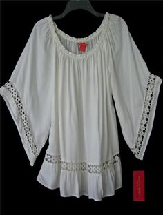New Creamy White Crochet Lace Boho Peasant Blouse Bohemian Tunic Plus Top ~1X #SunnyLeigh #Tunic