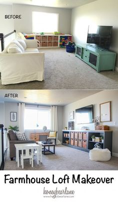 Farmhouse Loft Makeover Home Loft Spaces Loft Playroom Loft Playroom, Loft Room, Playroom Ideas, Playroom Design, Bonus Room Playroom, Loft Design, Playroom Organization, Dining Room Playroom Combo, House Design