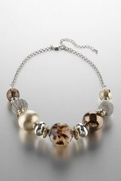 Per Una Metallic Assorted Bead Necklace