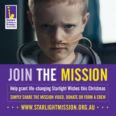 I joined the Mission to help grant life-changing Starlight Wishes for sick kids this Christmas! You can help too by sharing this website and video. People In Need, Sick Kids, Hope Love, Make A Donation, Charity, Wish, The Cure, Foundation, Goals