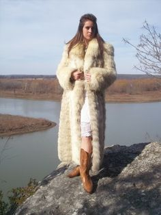 Long Fox Fur Coat.