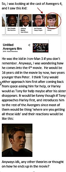 Marvel theory about how Harley is introduced in Avengers 4. - Original post by : Asma Khaja