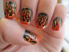 The girl whose nails were on fire. Hunger Games inspired nail art.