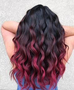 Add fire to your overall look! This is a melted choco raspberry on long beachy waves. Subtle Hair Color, Ombre Hair Color, Cool Hair Color, Hair Colour, Fire Ombre Hair, Long Ombre Hair, Dyed Curly Hair, Curly Hair Styles, Hair Dye