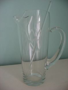 vintage glass engraved etched martini pitcher