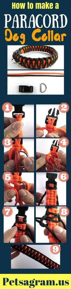 DIY Paracord Dog Collar: How To Make It Step By Step This tutorial demonstrates how to make a Paracord Dog Collar. A dog collar is basically made the same way that you make a paracord bracelet, so many bracelet designs can be made into dog collars. Diy Dog Collar, Pet Collars, Collar Macrame, Paracord Projects, Paracord Ideas, Paracord Tutorial, Bracelet Tutorial, Paracord Bracelets, Diy Stuffed Animals