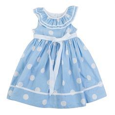 Laura Ashley Girls 2-6X Dotted Dress with Ruffled Neckline