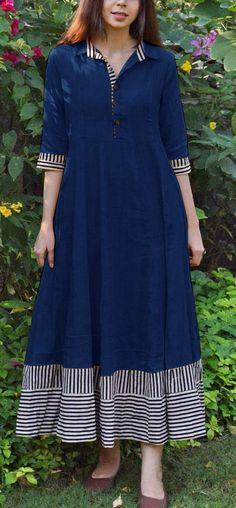 Simple Kurti Designs, Kurti Neck Designs, Kurta Designs Women, Kurti Designs Party Wear, Salwar Designs, Casual Gowns, Casual Frocks, Cotton Gowns, Cotton Long Dress