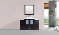 "54"" Newport Espresso Single Modern Bathroom Vanity with 2 Side Cabinets and Vessel Sink #BathroomRemodel #BlondyBathHome #BathroomVanity  #ModernVanity"