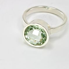 Another money mojo ring! And it's my birthstone. Green Amethyst Bezel Ring #jewelry