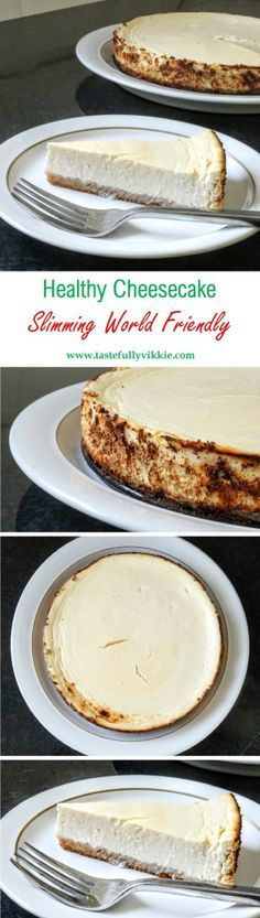 Healthy Slimming World New York Style Cheesecake Recipe astuce recette minceur girl world world recipes world snacks Slimming World Cheesecake, Slimming World Deserts, Slimming World Puddings, Slimming World Recipes Syn Free, Slimming World Diet, Slimming Eats, Slimming World Taster Ideas, Healthy Baking, Healthy Desserts