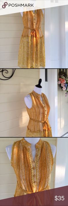 "Anthropologie 🏵Ryu dress🏵 Ryu Women's Small Mustard Yellow Lace Sheer Mesh Belted Dress Anthropologie. Measures 17"" armpit to armpit, 19"" waist, 21"" hips. Thanks for stopping by my closet and sharing...I will share back! Happy Poshing🎉🎉🎉 Anthropologie Dresses"