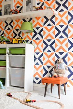 Stenciled accent wall via place of my taste