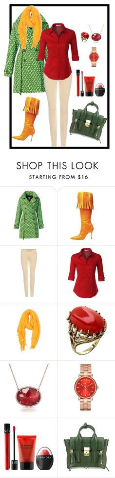 """""""Мандариновая осень"""" by zelixon-tanya on Polyvore featuring мода, HappyRainyDays, Manolo Blahnik, 7 For All Mankind, LE3NO, Love Quotes Scarves, Anne Sisteron, Marc by Marc Jacobs, Sephora Collection и 3.1 Phillip Lim"""