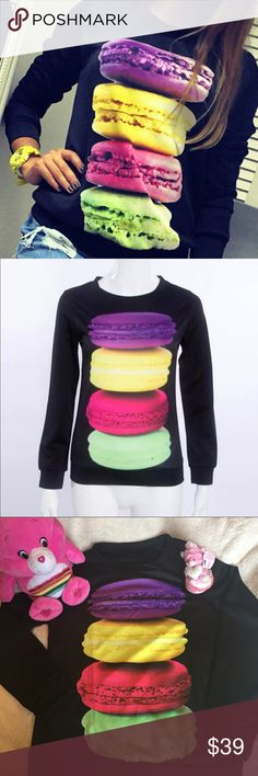 """😲 my Macaron ! Sweet sweatshirt  🍪 85% polyester, 15 % spandex, light fabric, not sweater material, approx 16"""" shoulder to shoulder, 18"""" pit to pit , 24"""" length,sleeves 23"""" Sweaters"""