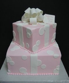 Adorable cake for a girl baby shower.