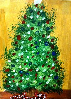 Painting Christmas Trees. ~thinking textured background, paper triangle to over paint for tree - doable with toddler up