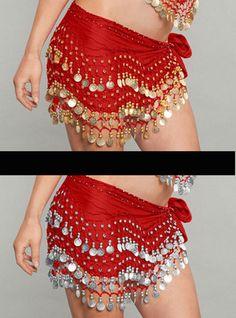 Moondance bellydance dancing costume coin hip scarf wrap silver red gold chiffon halloween noisy