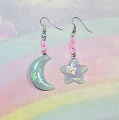 ♥ Moon and Stars Earrings, Magical Girl Earrings, Fairy Kei Earrings, Mismatched Earrings, Pop Kei Earrings, Fairy Kei Jewelry, Sweet Lolita Jewelry ♥  https://www.etsy.com/shop/starlightsparkles