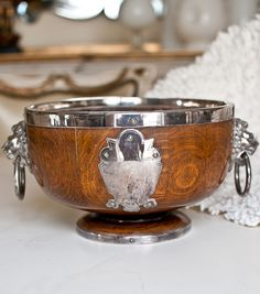 Antique English Oak Pedestal Bowl